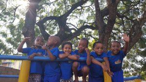 Kids on Jungle Jim in new uniform